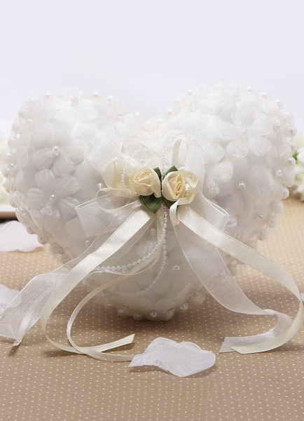 Heart Shaped Organza Ring Bearer Pillow for Wedding