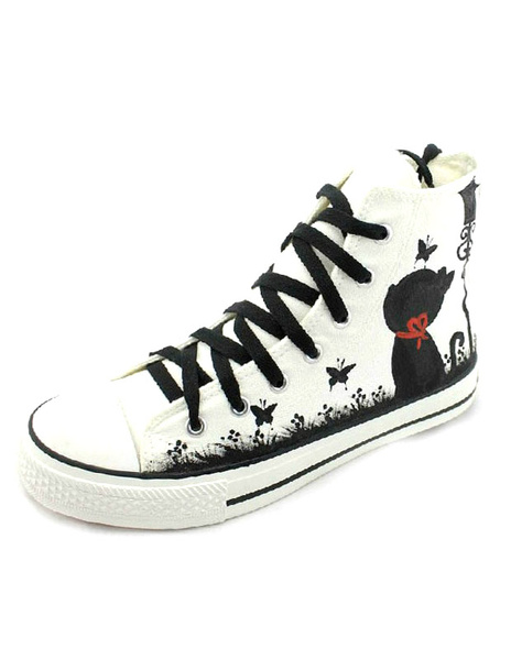 Multi Color Round Toe Lace Up Cat Paint Canvas Sneakers for Women фото