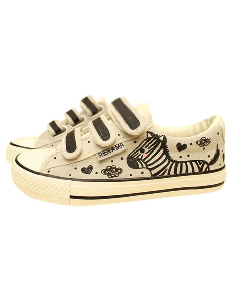 Multi Color Round Toe Zebra Print Canvas Sneakers for Women