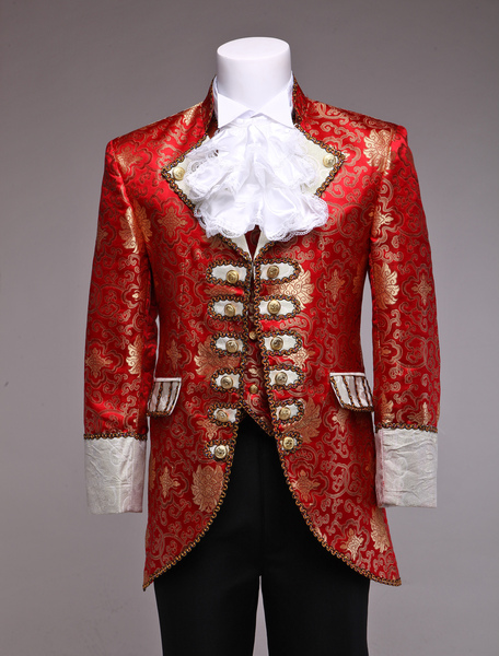 Retro Prince Costume Men's Red Jacquard European Vintage Royal Costume Outfit фото