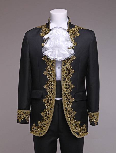 Baroque Prince Costume Black European Style Men's Vintage Royal Costume Outfit
