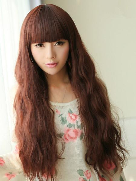 Chestnut Brown Corkscrew Curls Kanekalon Lounge Long Wig For Woman фото