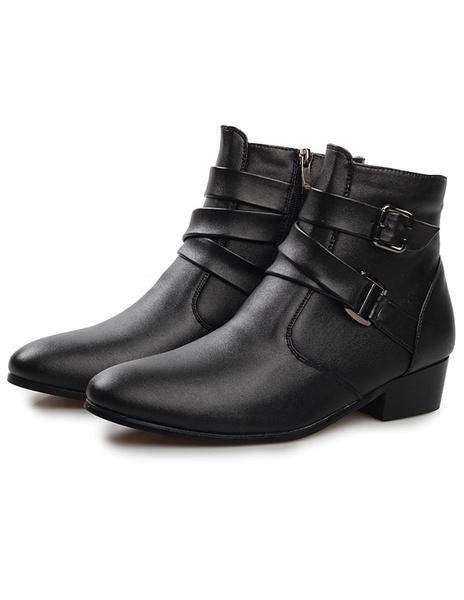 Удивительные черные молнии миндаля носок ПУ кожаные сапоги для мужчин