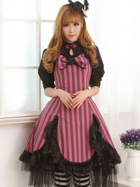 Rose Red Lace Portrait Neck Short Sleeves Lolita One-Piece фото
