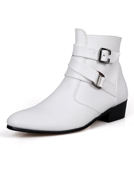 Белая пряжка PU кожаный миндаля носок моды сапоги для человека