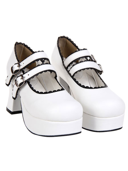 Elegant White Round Toe PU Leather Platform Lolita Shoes фото