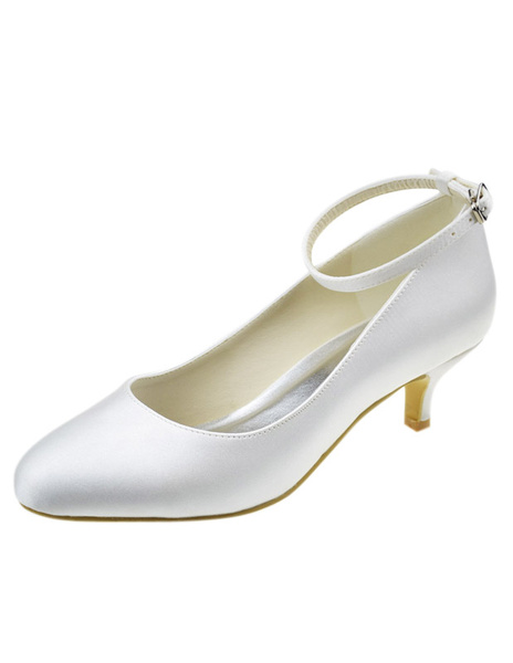 Pretty Ivory Silk And Satin Strappy Round Toe Pumps For Bride фото