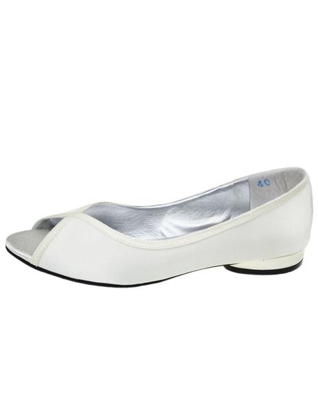 Elegant Peep Toe Bow Silk And Satin Bridal Flats фото