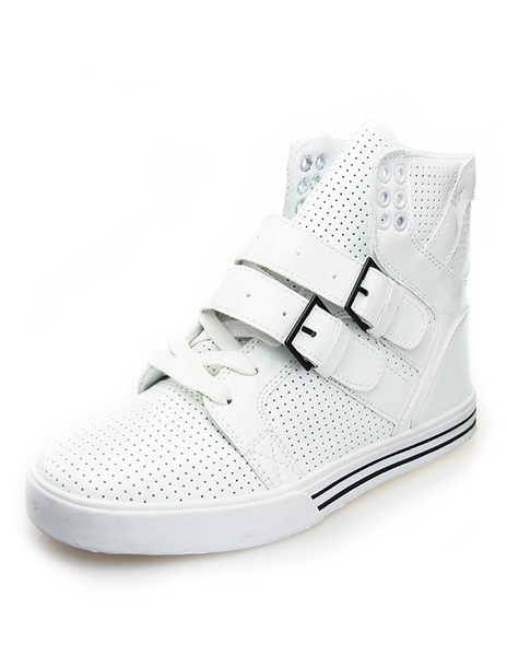 White Buckle Round Toe PU Leather Smart Men's Sneakers фото