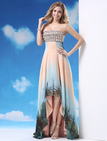 Pretty Strapless Asymmetrical Trim Beading A-line Chiffon Prom Dress Milanoo фото