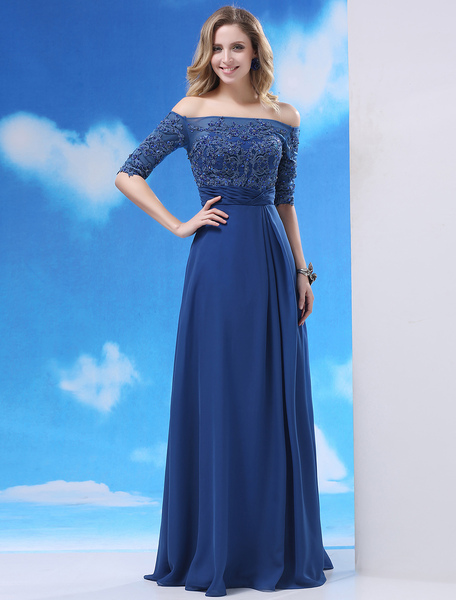 Abendkleid aus Chiffon mit Carmenausschnitt in Königsblau Milanoo