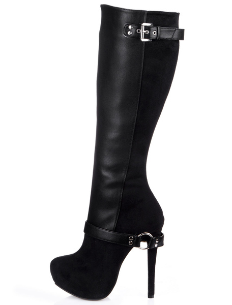Black Almond Toe Stiletto Heel Zipper PU Leather Attractive Women's Knee Length Boots Milanoo
