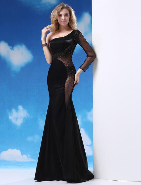 Gorgeous Black Beading Sheer Mermaid Long Sleeves Evening Dress with One-Shoulder Design Milanoo