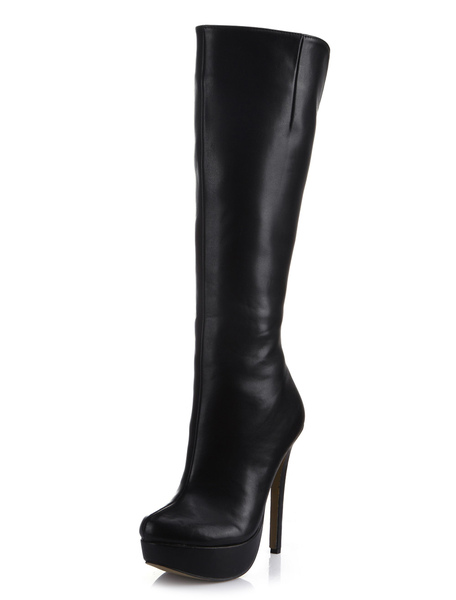 Black Almond Toe Stiletto Heel Zipper PU Leather Popular Knee Length Boots for Woman фото