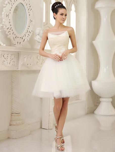 A-Linie-Brautkleid aus Tüll in Elfenbeinfarbe Milanoo