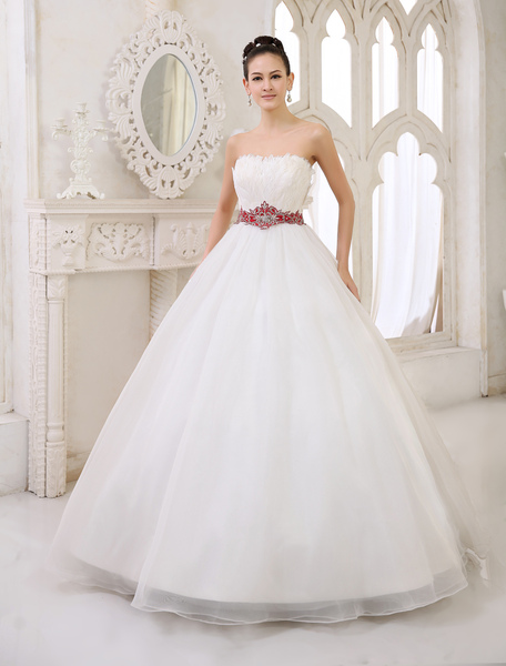Glamorous Floor-Length Ivory Brides Ball Gown Wedding Dress with Strapless Embroidered Organza фото
