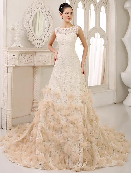 Chapel Train Champagne Bridal A-line Wedding Dress with Jewel Neck Flower Milanoo фото