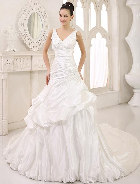 Classic A-line Chapel Train Ivory Brides Wedding Dress with V-Neck Sequin Elastic Silk Like Satin M фото