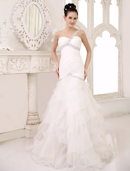 Chic Sweep Ivory Ruched Bridal Mermaid Wedding Dress with Sweetheart Neck One-Shoulder Organza Milanoo