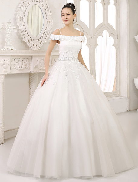 Glamorous Floor-Length Ivory Lace Ball Gown Wedding Dress For Bride with Off-The-Shoulder Spaghetti фото