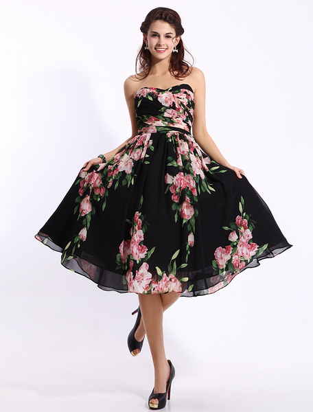 Black Floral Print Dress In Knee Length Inspired by Ariana Grande at the Grammys 2014 фото