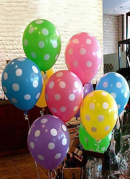 Image of 100-Piece Polka Dot Printing Wedding Balloons