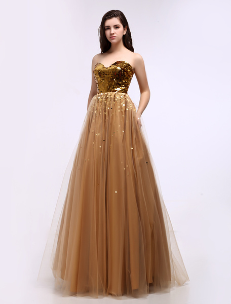 Golden Sweetheart Floor-Length Prom Dress with Sequined Bodice фото