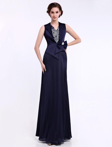 Fabelhaftes Abendkleid aus Chiffon mit V-Ausschnitt mit Spitzen und Schleife in Dunkelblau Milanoo