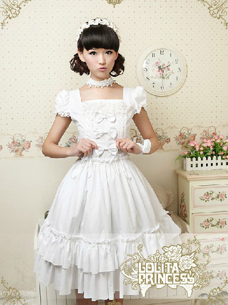 Pure Cotton Sweet Loltia One-piece Dress Square Neck Bows Layers Ruffles фото