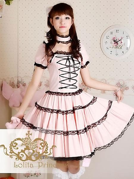 Sweet Lolita Dress OP Princess Pink Tiered Lace Cotton Lolita One Piece Dress фото