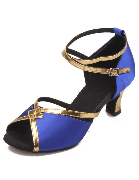 Open Toe Color Block Ankle Strap Womens Latin Shoes фото