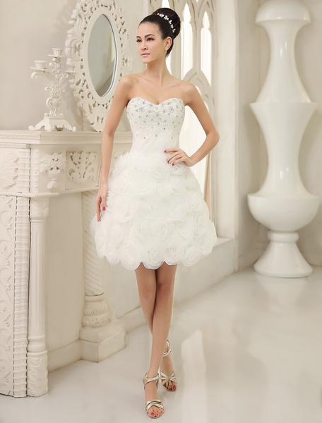 Ivory A-line Sweetheart Neck Flower Short Brides Wedding Dress  Milanoo