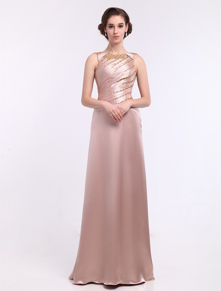Nude Sheath Jewel Neck Ruched Backless Elastic Silk Like Satin Mother of the Bride Dress Milanoo фото