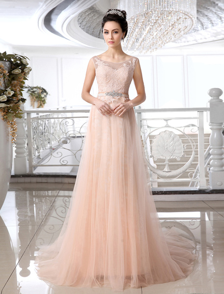 Attractive Jewel Neck Lace Court Train Brides Wedding Dress