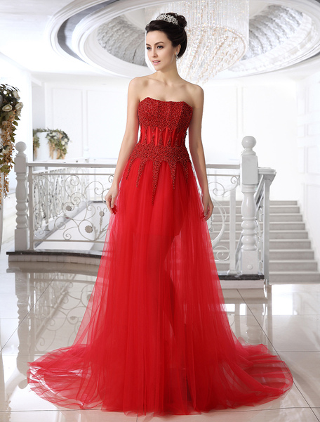 Red Sheath Strapless Beading Court Train Tulle Bridal Wedding Gown фото