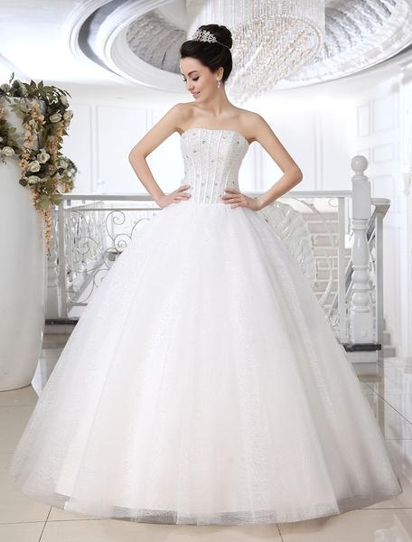 White Ball Gown Strapless Strapless Beading Floor-Length Tulle Wedding Dress For Bride фото