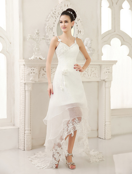 Ivory A-line Sweetheart Neck Spaghetti Strap Applique Asymmetrical Organza Wedding Dress Milanoo фото