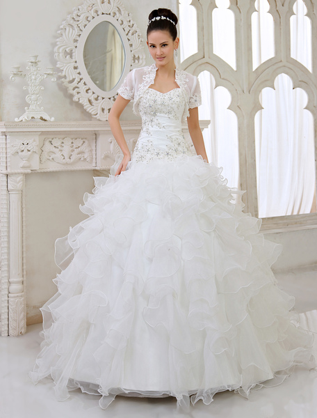 Ivory Ball Gown Strapless Sweetheart Neck Applique Floor-Length Wedding Dress For Bride Milanoo фото