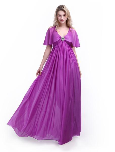 Magenta Prom Dress V Neck Draped A Line Floor Length Rhinestone Evening Dress Milanoo