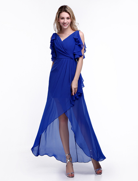 Pretty Royal Blue Prom Dress with V-Neck and Beading A-line Chiffon Skirt  Milanoo