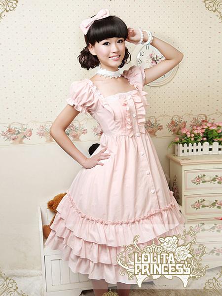 Sweet Square Neck Pure Cotton Ruffles Lolita Dress фото