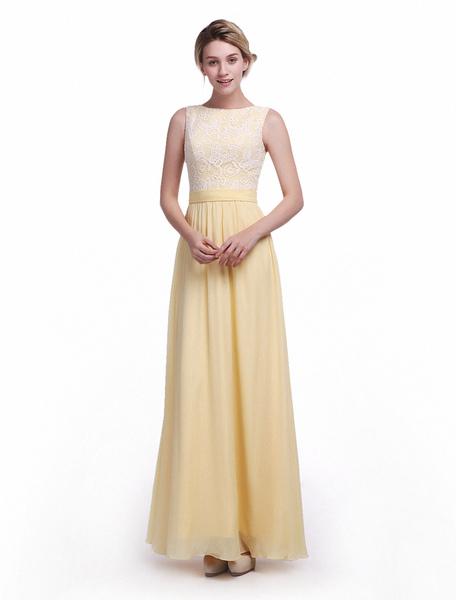 Daffodil Sash A-line Floor-Length Bridesmaid Dress with Elegant Jewel Neck Milanoo фото