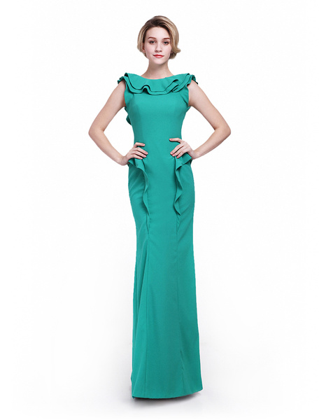 Green Mermaid Cascading Ruffle Dress For Mother of the Bride with Bateau Neck Milanoo