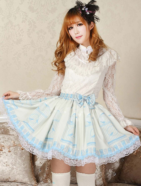 Elegant Blue Lace Bow Lolita Skirt фото