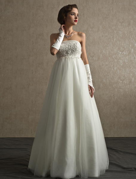 Panel Train Ivory Strapless Beading Brides Wedding Dress with Strapless Princess Silhouette фото