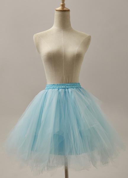 Light Sky Blue Three-Tier Fashion Short Flare Slip Wedding Petticoat for Bride фото