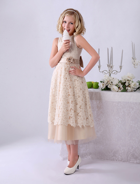 Champagne A-line Bow Lace Wedding Flower Girl Dress with Jewel Neck Milanoo фото