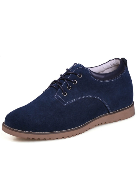 Dark Navy Round Toe Cow Suede Leather Quality Mans Elevator Shoes фото