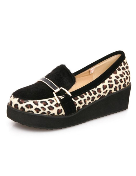 Imprimé léopard occasionnels fourrure ronde Toe cheval cheveux mocassins pour femmes
