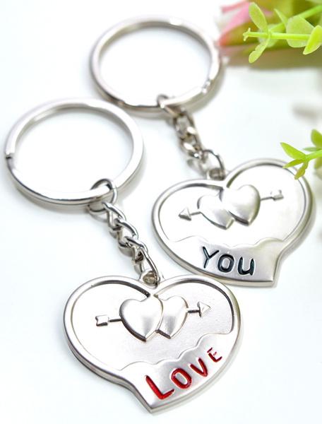 Silver Wedding Keychain Set Love Heart Embossed Metal Keychain